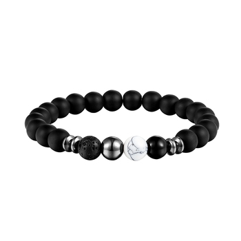 LIVVY 2018 New design of volcano black pearl jewelry elastic energy natural stone man bracelet bracelets AS303